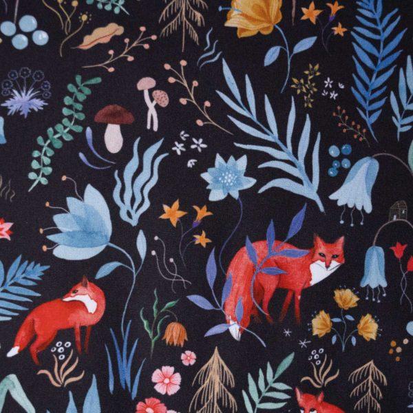 tissu coton popeline dark forest